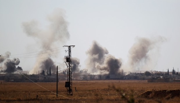 Smoke rises after strikes on Syria Democratic Forces (SDF) controlled Tell Rifaat town, northern Ale