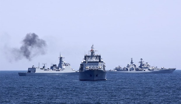 A group of Russian warships from Russia's Black Sea fleet entered the Mediterranean.