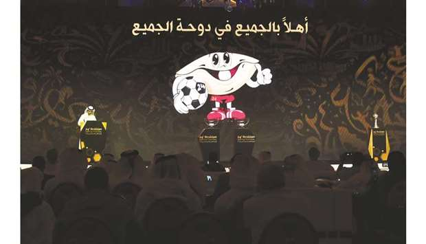 'Sodeifi', the mascot of the Arabian Gulf Cup, is projected on a screen  during the draw ceremony y