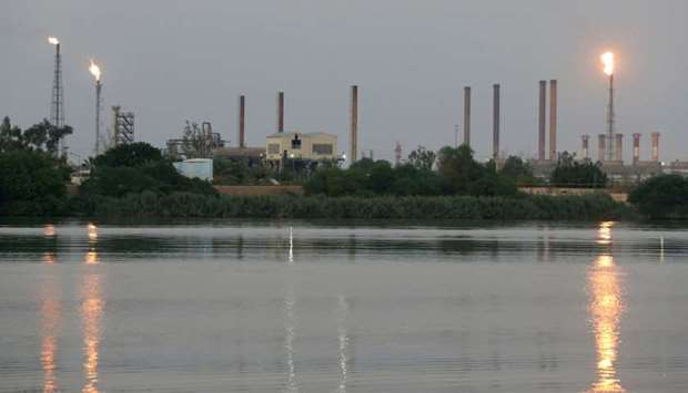A general view of Abadan oil refinery in southwest Iran, is pictured from Iraqi side of Shatt al-Ara