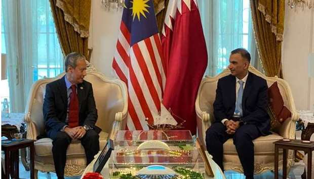 The Speaker of the House of Representatives of the Malaysian Parliament Azhar Azizan meets with HE t