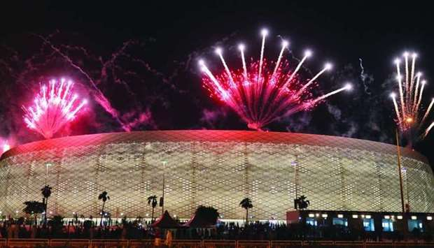 Fireworks light up the sky over Al Thumama Stadium yesterday after Al Sadd lifted the 49th Amir Cup