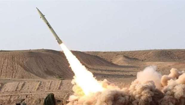 A Houthi missile being fired from Yemen. File picture