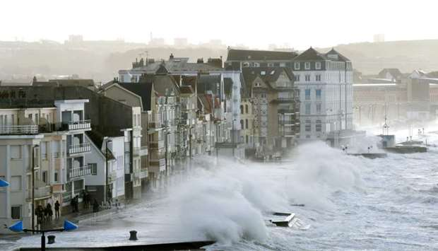 Waves crash against the seafront of Wimereux, northern France, as storm Eleanor hits the northern pa