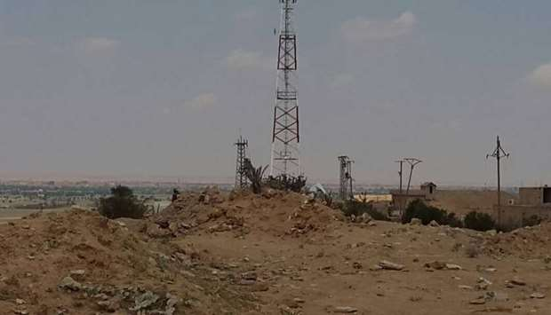 A telecommunication tower built by SDF in Baghouz