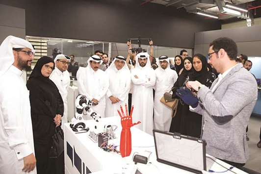 HE Sheikh Abdullah, al-Khalifa and al-Mudahka among other dignitaries  during the official launch of 'Fab Lab' at QBIC's headquarters in the New  Industrial ...