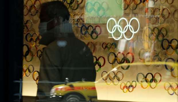 The Olympic rings are displayed at an entrance of the Japan Olympic Museum in Tokyo.