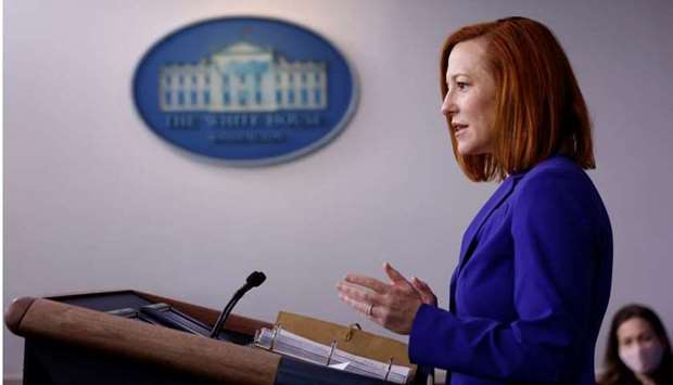 White House Press Secretary Jen Psaki delivers remarks during a daily press briefing at the White Ho