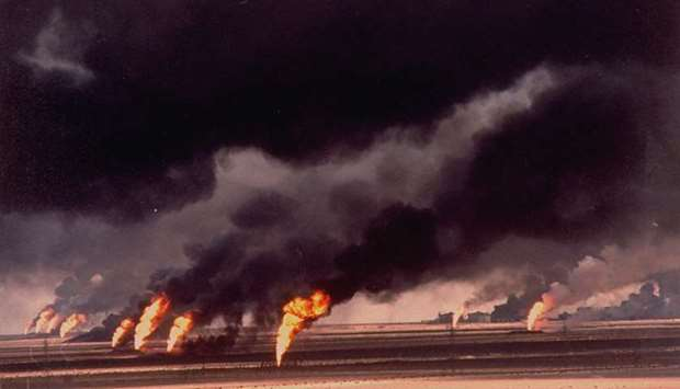 A burning oil field in Kuwait during the Gulf war