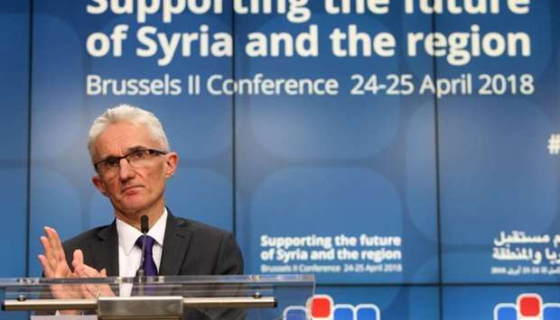 Mark Lowcock addresses a news conference during an international conference on the future of Syria a