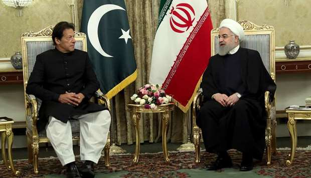 Iranian President Hassan Rouhani meets with Pakistani Prime Minister Imran Khan in Tehran