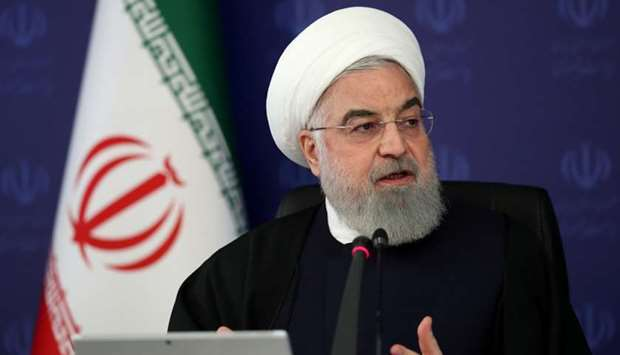 Iranian President Hassan Rouhani speaks during the cabinet meeting, as the spread of the coronavirus