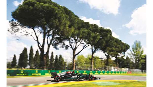 Mercedes' Valtteri Bottas drives during a practice session for the Emilia Romagna Grand Prix at the