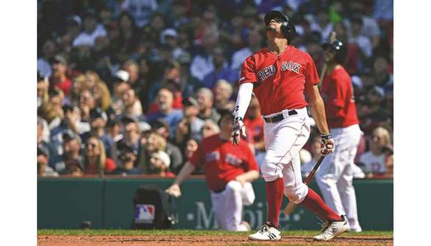 864429560 Boston Red Sox shortstop Xander Bogaerts watches the ball after hitting a  single RBI during the fifth against the Houston Astros inning at Fenway  Park.