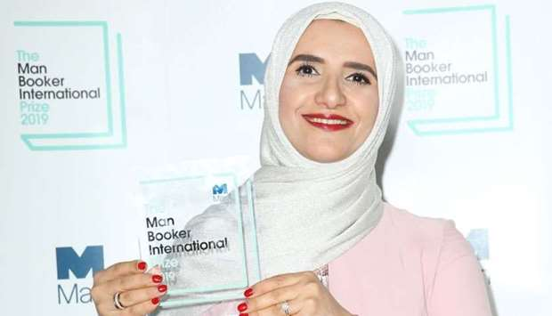 Arabic author Jokha Alharthi poses after winning the Man Booker International Prize for the book 'Ce