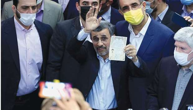 Iran former president Mahmoud Ahmadinejad registers his candidacy for the post of president, at the