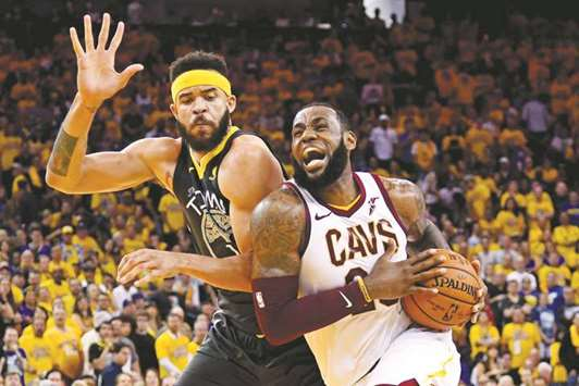 cd554238030 Cleveland Cavaliers forward LeBron James drives to the basket during the  second quarter in game two of the 2018 NBA Finals against Golden State  Warriors at ...
