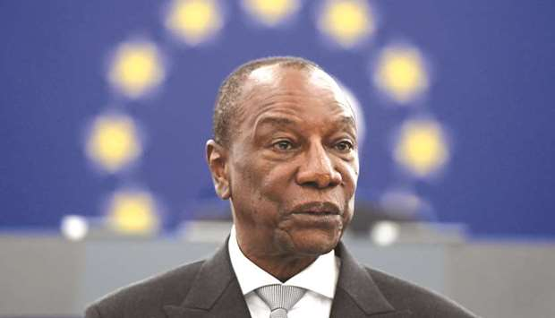 File photo of Guinean President Alpha Conde.