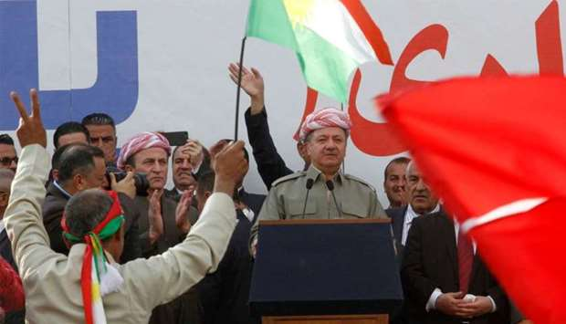 Iraqi Kurdish President Masoud Barzani speaks to the crowd