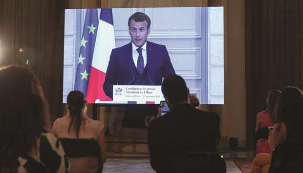 French President Emmanuel Macron addresses Lebanese journalists during a virtual press conference br