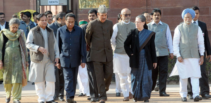 A Congress delegation led by party president Sonia Gandhi leave the Rastrapati Bhawan after meeting