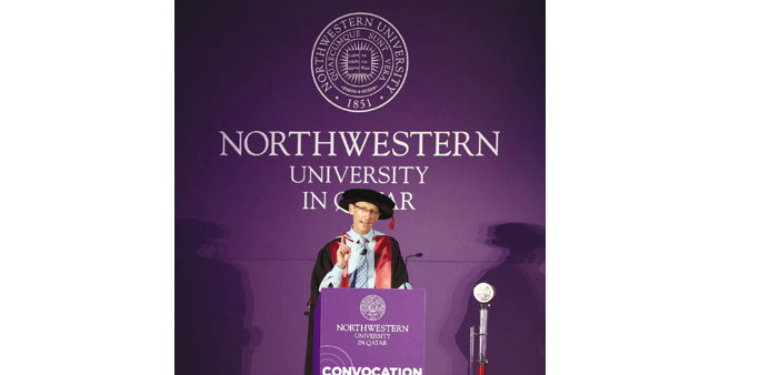 Lyons delivers the convocation address to NU-Q students.