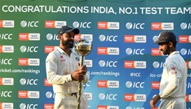 Kohli receives mace after India top Test rankings