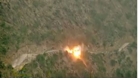 Image grab from a video posted in social media that shows an explosion in  Jizan area.