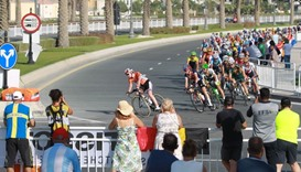 Riders compete in the women's elite road race event
