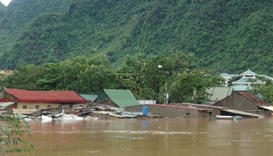 Submerged homes are seen in Bo Trach district in central Vietnam