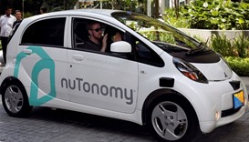 driverless car navigates a road in Singapore