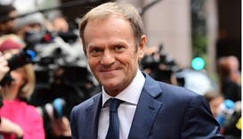 European Council President Donald Tusk arrives for an European Union leaders summit on October 20, 2