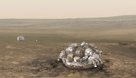 An illustration released by the European Space Agency (ESA) shows the Schiaparelli EDM lander