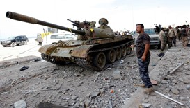 Libyan forces allied with the UN-backed government gather at the eastern frontline, in Sirte