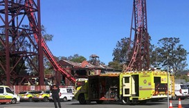 Emergency services vehicles can be seen outside the Dreamworld theme park at Coomera