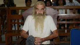 Robert Andrew Fiddes Ellis of Australia attends his trial inside a court room in Denpasar on Bali is