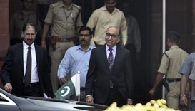 Pakistani high commissioner Abdul Basit leaves the ministry of external affairs