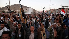 Followers of the Houthi movement shout slogans in Yemen