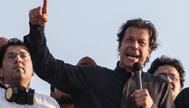 Imran Khan, the Chairman of PTI political party, addresses supporters