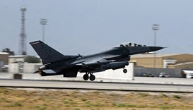 A US  Air Force F-16 Flying Falcon fighter bomber takes off from Bagram air field, Afghanistan