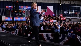 """Hillary Clinton arrives at a Democratic party """"Women Win"""" early vote rally"""