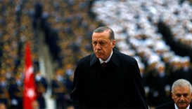 Turkey's President Tayyip Erdogan attends a Republic Day ceremony at Anitkabir