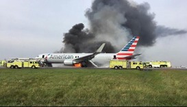 American Airlines jet catches fire on takeoff
