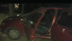 Image grab from a video posted online showing the car alleged to be used for ramming