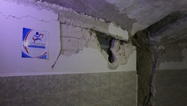The damaged interior of an underground hospital that was hit by an airstrike in Kafr Zita, Syria