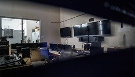 the broadcast control room of the Turkish IMC TV station in Istanbul