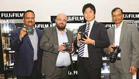 Techno Blue and Fujifilm officials launch the new X-T2 camera. PICTURES: Ram Chand