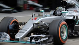 Mercedes F1 Team's German driver Nico Rosberg speeds out from the pit