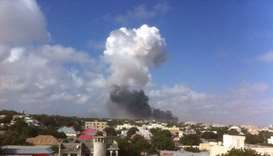 Smoke rising after the explosion at the K5 Junction, Mogadishu.