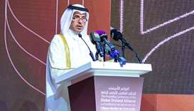 HE Prime Minister and Interior Minister Sheikh Abdullah bin Nasser bin Khalifa al-Thani speaking at
